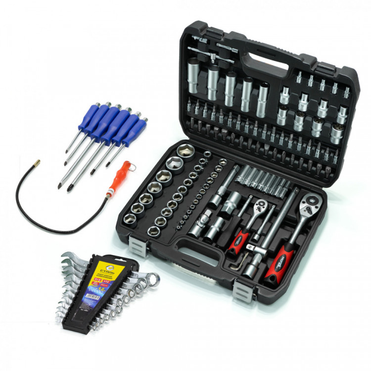 Набор инструментов 108 ед. Profline 61085 + Набор ударных отверток Profline 6 ед. + Набор ключей 12 ед. + Магнит на гибком удлинителе