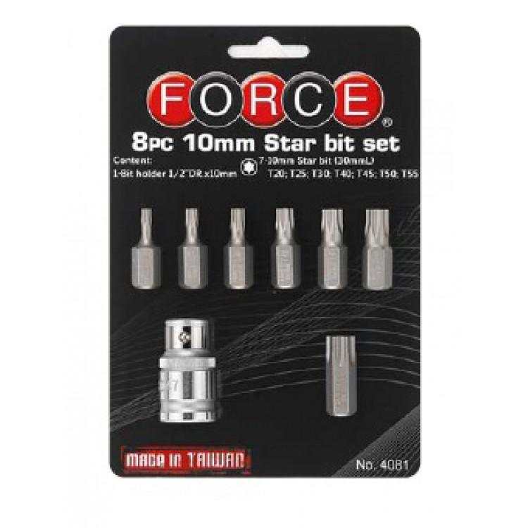 Force 1/2 Набор бит Torx 10 мм 8 пр. на блистере (Т20-Т55) Артикул:  4081