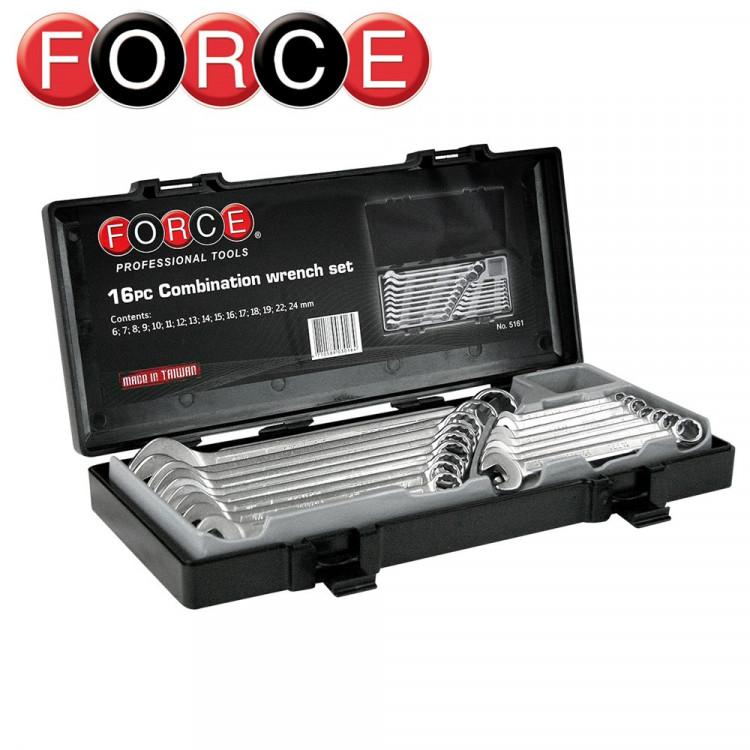 Набор ключей комбинированных 16 пр. (6-24 мм) в кейсе Force 5161