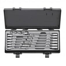 Набор ключей рожково-накидных трещоточных, прямых+адаптеры 16 пр. (8-19 мм) Force 5164