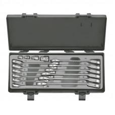 Набор ключей рожково-накидных трещоточных, отогнутых+адаптеры 16 пр. (8-19 мм) Force 5164R