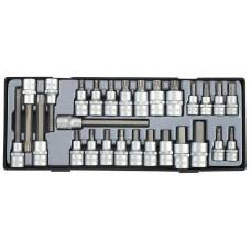 Набор головок-бит 6-гр. 3/8 , 1/2  (HEX) и Spline 27 пр. Force T4281