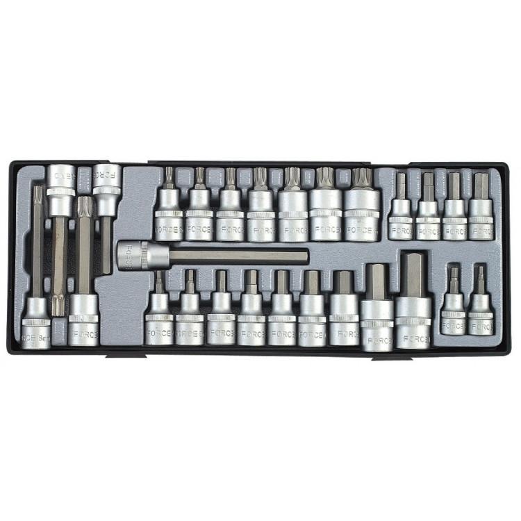 3/8 , 1/2 Набор головок-бит 6-гр. (HEX) и Spline 27 пр. Force T4281