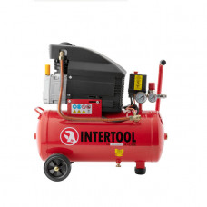 Компрессор 24л, 2HP, 1.5кВт, 220В, 8атм, 206л/мин Intertool PT-0010
