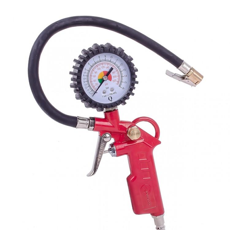 Пистолет для подкачки колес с манометром 63мм пневматический (блистер) Intertool PT-0503