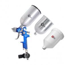 Краскораспылитель 1,7 мм, с регулятором давления, тремя бачками (2-метал 800 / 600) HVLP BLUE PROF KIT  Intertool PT-1506