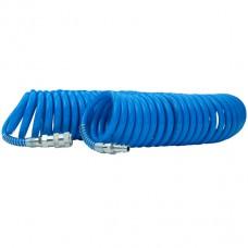 Шланг спиральный полиуретановый 6.5*10мм, 15м с быстроразъемными соединениями
