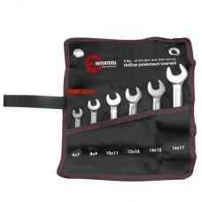 Набор рожковых ключей 6шт. 6-17мм Cr-V, покрытие сатин-хром, PROF DIN3110