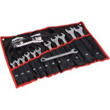 Набор ключей рожково-накидных CRV сатин, 12 шт, (13-32мм) в брезенте, PREMIUM Miol 51-714