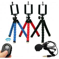 Набор блогера (гибкий штатив,bluetooth пульт, микрофон для телефона)