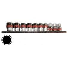Головки 3/8 на планке CrV 10 шт. 12-ти гр.9-19 мм MTX