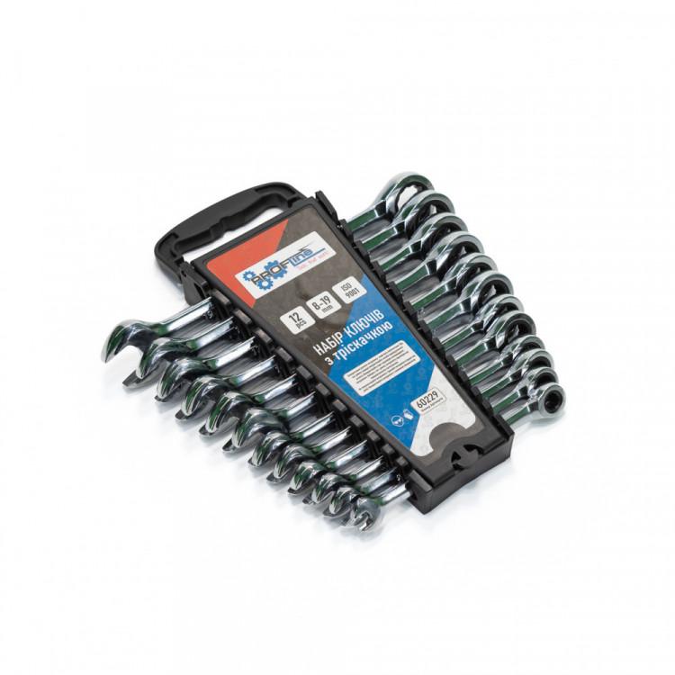 Набор ключей с трещоткой 12 ед. 8-19 мм в пластиковом холдере Profline 60229