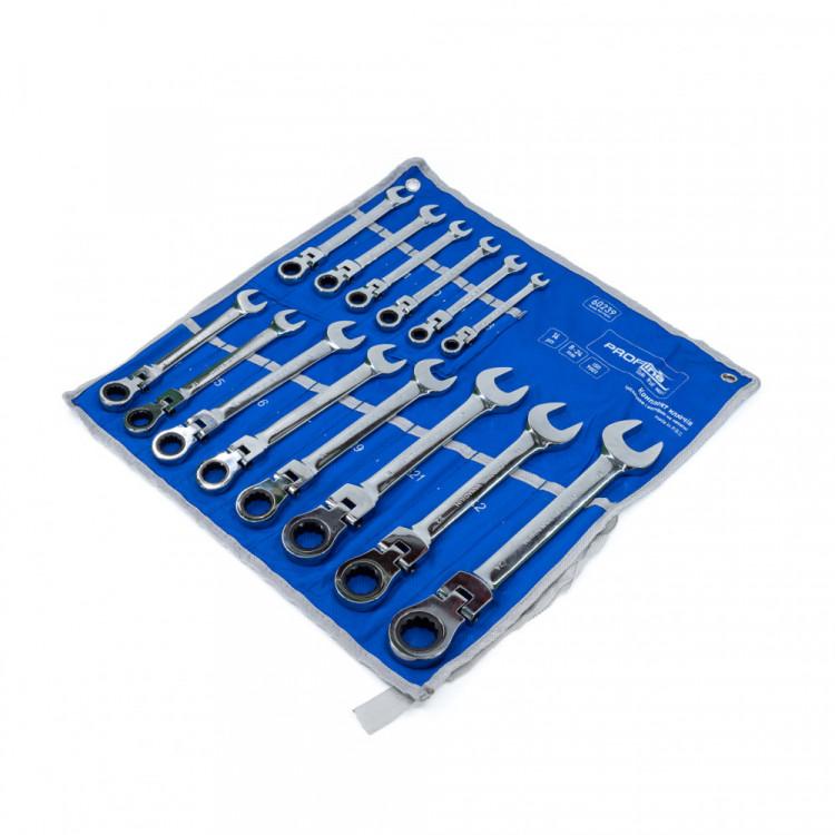 Набор ключей с трещоткой и шарниром 14 ед. 8-24 мм на холсте Profline 60239
