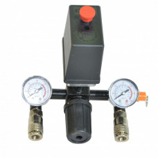 Автоматика к компрессору 220вт черная 2 манометра + редуктор 2 выхода разъемы аварийный клапан сброс воздуха - PAtools 20E