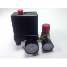 Автоматика к компрессору 2 выхода 380вт, 2 манометра металлические + редуктор кран, клапан сброс воздуха PAtools АвтСб3/380мал