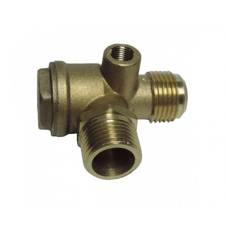 Обратный клапан большой 1/2-1/2-1/8 (20мм -20мм), медный - PAtools КомпКл9м