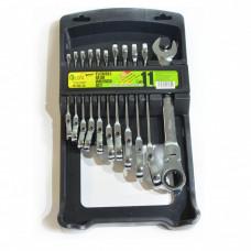 Набор ключей комбинированных с трещоткой с карданом 11 предметов, 8-19 мм Alloid НК-2081-11К